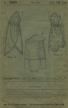 Vintage / Antique Apron Sewing Pattern | Ladies' Home Journal 7260 | Year ? (The Perfect Pattern Guarantee was introduced in 1911) | One Size