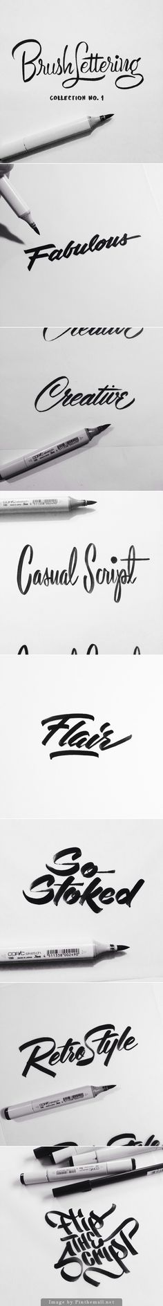 Typography / Lettering / Brush Lettering Collection No. 1 is an exploration of achieving different brush script lettering styles using one writing instrument - a Copic Sketch marker / Designer: Neil Secretario