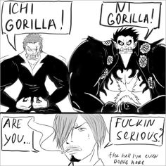 """Do you remember this time when Zoro also blew his muscles with air (in battle vs Kaku)? And said """"one gorilla, two gorilla"""" sentence? One Piece Funny, One Piece Comic, One Piece Manga, Do You Remember, Zoro, Funny Images, Memes, Pirates, Otaku"""
