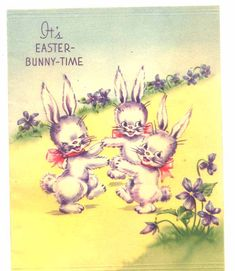 Vintage 1940's Easter Card by R.R.H. Dancing Bunnies with Violets. $2.50, via Etsy.  SOLD!!