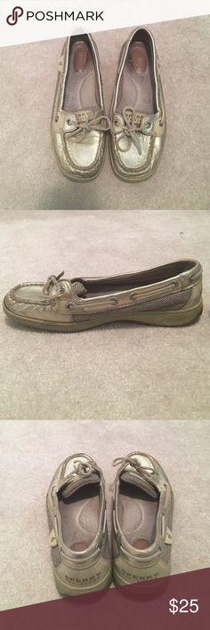 Gold Metallic Sperries Loved Sperry Top-Sider slip ons in gold. Sperry Top-Sider Shoes Flats & Loafers