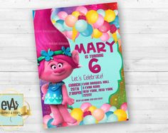 Trolls Birthday Invitation Trolls invitation by WeDesignPartys