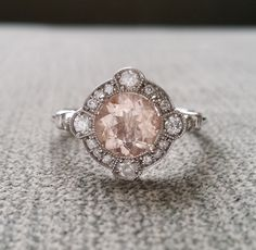"Estate Halo Moraganite Diamond Antique Engagement Ring Victorian Art Deco Peach Pink Edwardian 14K White Gold ""The Charlotte"" by PenelliBelle on Etsy https://www.etsy.com/listing/233437820/estate-halo-moraganite-diamond-antique"