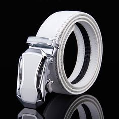 8d72358869f Extra Off Coupon So Cheap Mens White Leather Belt Designer Waist Strap  Automatic Buckle For Wedding Golf