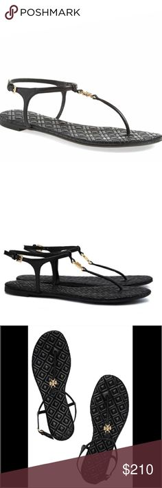 "Tory Burch Black Marion Sandals Tory Burch Black Marion Quilted Sandals.  New with tags.  0.3"" flat heel. T-strap vamp with gold logo. Adjustable ankle strap. quilted cork footbed.  Perfect color for any season.   Leather lining.  Rubber outsole. Tory Burch Shoes Sandals"