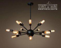 Westmenlights Brown Industrial Sputnik Globe Ceiling Chandelier for Living Room SPUTIK