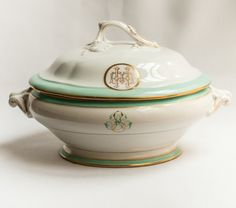 Antique French Porcelain Monogrammed Tureen  For Heidi and Mike!
