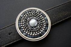 Round Belt Buckle Handmade Unique Artisan Mosaic Black, Gray and Silver