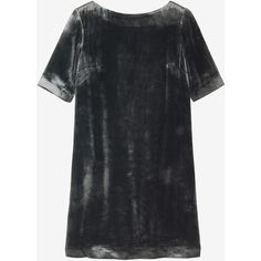 Toast Silk Velvet Shift Dress ($210) ❤ liked on Polyvore featuring dresses, slate, key hole dress, velvet dress, slate dress, elbow length sleeve dress and shift dress