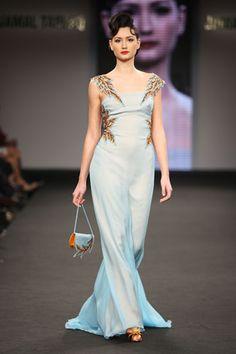 Jamal Taslaq blue dress.  so incredibly elegant and unique.