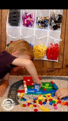 Lego sorter using a shoe pouch hanger