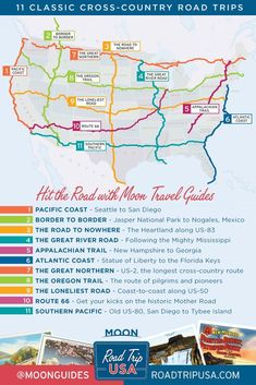 Road Trip USA's 11 Cross-Country Road Trip Routes. Moon's Road Trip USA travel guide helps you plan your drive across the United States with invaluable advice on the best sights and helpful travel planning maps. Usa Travel Guide, Rv Travel, Family Travel, Places To Travel, Travel Sights, Amtrak Train Travel, Travel Trailer Camping, Family Road Trips, Vacation Travel