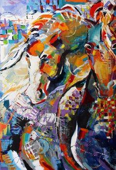 Pintura abstracta del caballo, potro Pintura india de Texas artista Laurie Pace, pintura original del artista Laurie Justus Pace   DailyPainters.com
