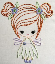 Fairy, Genie, e Big Bow Dress up Cutesie Meninas Padrões de Bordado Digital Hand Embroidery Stitches, Hand Embroidery Designs, Embroidery Techniques, Silk Ribbon Embroidery, Embroidery Applique, Cross Stitch Embroidery, Machine Embroidery, Simple Embroidery, Stitch Patterns