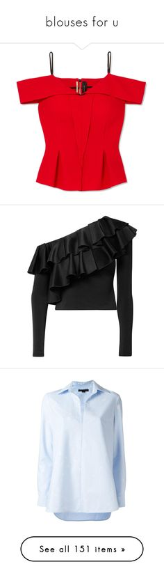 """""""blouses for u"""" by evenaka on Polyvore featuring tops, shirts, pleated top, shirt top, red cold shoulder top, cold shoulder peplum top, peplum shirt, alice + olivia, blouses and black"""