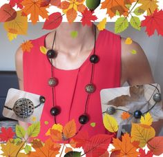 Welcome autumn! Collana con sfere grandi nere e sfere grandi in metallo color bronzo