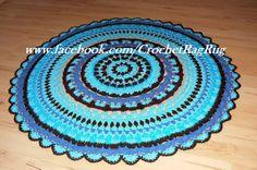 Crochet Yarn Doily Rug 83cm