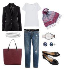 """Blazer Look"" by bluehydrangea ❤ liked on Polyvore featuring EAST, H&M, American Vintage, Emporio Armani, MANGO, J.Crew, A B Davis, Stella & Dot, Lauren Ralph Lauren and skinny jeans"