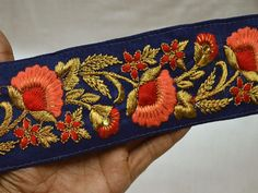 Wholesale Navy Blue Embroidery Lace Decorative Trim By 9 Yard Indian Laces Sari Border Craft Ribbon Floral Sewing Trim Costume Fashion trim You can also purchase from Our What's App no. Machine Embroidery Designs, Embroidery Patterns, Dupioni Silk Fabric, Diy Belts, Hand Embroidery Dress, Sewing Trim, Passementerie, Decorative Trim, Lace Border
