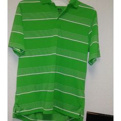 Slazenger Men's Medium Short Sleeve White Striped Green Golf Polo Shirt  #poloshirt #shirt #menshirt #tshirt #menfashion #menclothing #menpoloshirtclearance #menpoloshirt