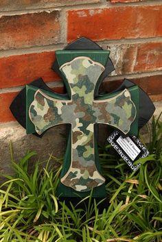 Medium Black Green and Camo Cross by twistofdazzle on Etsy, $35.00