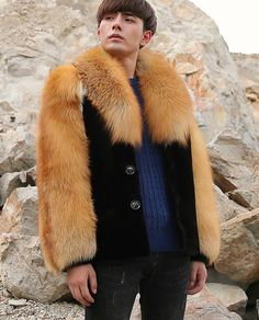 Men's Black Mink Fur Jacket with Red Fox Fur Collar and Sleeves Mens Fur, Fox Fur Coat, Men's Coats And Jackets, Red Fox, Fur Collars, Fur Jacket, Mink, Sleeves, How To Wear