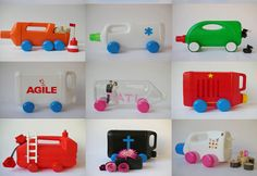 Martine Camillieri is a visual artist and author - a pioneer in recycling everyday items into toys, in this case recycled bottles become toy automobiles. Recycled Bottles, Recycled Crafts, Plastic Bottles, Diy And Crafts, Crafts For Kids, Toddler Activities, Kids Toys, Crafty, Martini