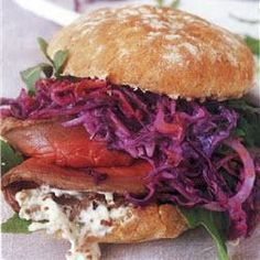 Beef and beetroot coleslaw baps