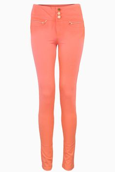 Be on trend by stepping out on this high waisted skinny trousers. Perfect with a vest top and chunky boots for a simple effective outfit. High Waisted Skinny Trousers, Skinny Jeans, Chunky Boots, Jeggings, Twin, Coral, Vest, Buttons, Pockets