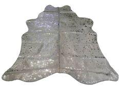 Silver Metallic Cowhide Rug Medium Size - Metallic cowhide rug Size: 5' X 5'  #cowhidesusa #Contemporary