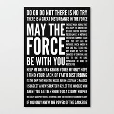 Star Wars Quotes Stretched Canvas by Josh Byers - $85.00