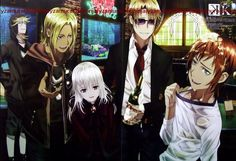 Wait what happened here? Misaki is Soaked in champagne?! Even so this still is a cute picture. Eric, Kamamoto, Anna,Kusanagi and Misaki at HOMRA. K Missing Kings. (K Project) #anime #movie