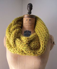 Oversized Cable knit cowl mustard yellow Infinity scarf. $98.00, via Etsy.