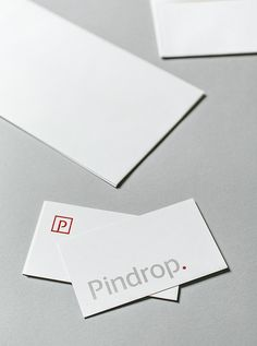 Logotype and stationery design for Pindrop created by Nudge.