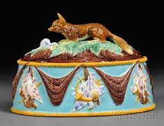 George Jones majolica Game Pie Dish and Cover, England