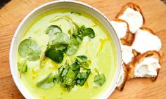 Courgette, pea, and mint soup recipe by Angela Hartnett, in The Guardian. Good hot or cold, and leftovers go really nicely in a risotto.