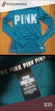 Pink ultimate 3/4 zip pullover 3/4 zip pullover with thumb holes. PINK logo on chest and side. Size xs PINK Victoria's Secret Tops Sweatshirts & Hoodies