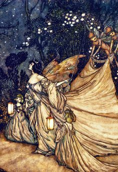"vintagegal: "" The Meeting of Oberon and Titania by Arthur Rackham (1905) (via) """