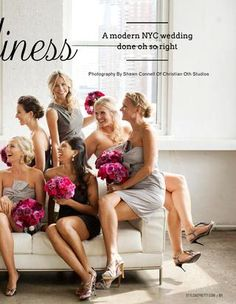 Style Me Pretty's Best Weddings of 2012 .... love the flowers with the gray bridesmaid dresses