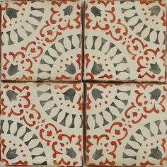 """Paris Metro hand painted terracotta tile by Tabarka Studio, 4 1/8"""" x 4 1/8"""" charcoal & paprika on off white"""