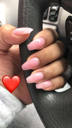 Coffin shaped natural shimmery pink acrylic nails