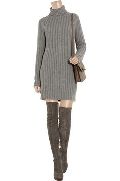 This knitted cashmere sweater is the perfect way to channel Michael Kors' covetable aesthetic. Balance the high hemline with thigh boots, adding a classic leather shoulder bag for a polished city look. Shown here with: Bottega Veneta ring, Gucci boots, Chloé bag.