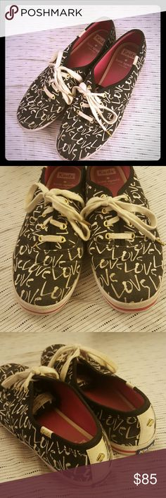 Kate spade Keds sneakers tennis shoes size 7 Size 7. Preloved but with lots of life left. Black with love written across, pink lining. kate spade Shoes Sneakers
