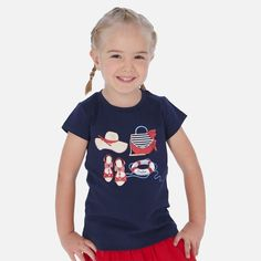 Your young one will look beautiful in this gorgeous top from Mayoral. Available to purchase at Designer Childrenswear online and in store now. Designer Childrenswear, Young Ones, Winter Sale, Tsunami, Short Sleeves, Long Sleeve, Cut Jeans, Nautical, Navy