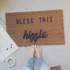 Bless this Hizzle Welcome Mat, Snoop Dog quotes, unique home decor, unique rugs, hip hop decorations, for shizzle doormat