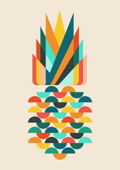 Poster | GROOVY PINEAPPLE von Budi Kwan | more posters at http://moreposter.de