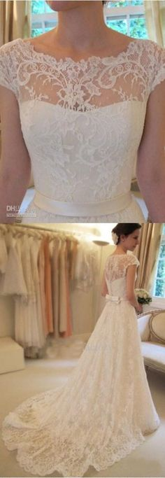 Vintage A-Line Lace Wedding Dresses- Really like the top half of this dress