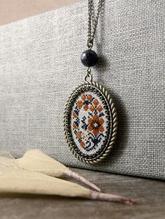 Embroidered necklace Floral necklace Cross stitch by TriccotraShop
