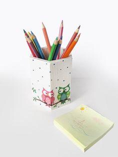 Cute Owl Pencil Holder. Desk Caddy. Funny Owl Pen Cup. Wooden