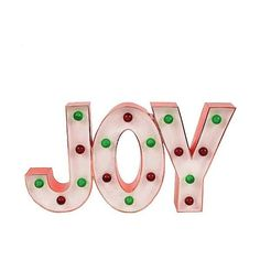Holiday Sign Lit Joy Marquee, White ($18) ❤ liked on Polyvore featuring home, home decor, holiday decorations, white, holiday home decor, lit signs, lighted home decor, holiday snow globes and holiday decor
